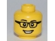 Part No: 3626bpb0546  Name: Minifigure, Head Glasses Rectangular, Black Eyebrows, Open Mouth Smile, White Pupils Pattern - Blocked Open Stud