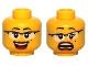 Part No: 3626bpb0578  Name: Minifigure, Head Dual Sided Female Glasses with Black Frames, Red Lips, Beauty Mark, Laughing / Scared Pattern - Blocked Open Stud
