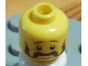 Part No: 3626bpb0582  Name: Minifigure, Head Moustache Handlebar and Sideburns Brown, Scared Pattern - Blocked Open Stud