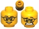 Part No: 3626bpb0585  Name: Minifigure, Head Dual Sided Black Glasses, Smile / Scared Pattern - Blocked Open Stud