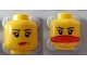 Part No: 3626bpb0592  Name: Minifigure, Head Dual Sided Female Red Lips / Red Veil over Mouth Pattern - Blocked Open Stud