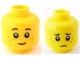 Part No: 3626bpb0595  Name: Minifigure, Head Dual Sided Black Eyebrows, Dark Orange Freckles, Smile / Worried Pattern - Blocked Open Stud