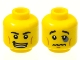 Part No: 3626bpb0602  Name: Minifigure, Head Dual Sided Black Eyebrows, White Pupils, Open Smile with Gold Upper Row Teeth / Black Eye, Crooked Lips Sad Pattern - Blocked Open Stud