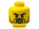 Part No: 3626bpb0603  Name: Minifigure, Head Beard Stubble, Black Angry Eyebrows with Open Mouth with Teeth Pattern - Blocked Open Stud