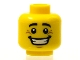 Part No: 3626bpb0604  Name: Minifigure, Head Black Eyebrows, White Pupils, Chin Dimple, Crow's Feet, Open Mouth Smile with Teeth Pattern - Blocked Open Stud
