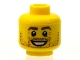 Part No: 3626bpb0606  Name: Minifigure, Head Beard Stubble, Brown Eyebrows, White Pupils, Crow's Feet, Open Smile Pattern - Blocked Open Stud