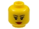 Part No: 3626bpb0629  Name: Minifigure, Head Female with Black Thin Eyebrows, Eyelashes, White Pupils and Red Lips Smile Pattern - Blocked Open Stud