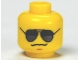 Part No: 3626bpb0642  Name: Minifigure, Head Glasses with Black and Pearl Dark Gray Sunglasses, Chin Dimple, Grim Mouth Pattern - Blocked Open Stud