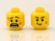 Part No: 3626bpb0650  Name: Minifigure, Head Dual Sided Black Eyebrows, White Pupils, Scratches, Determined / Scared Pattern - Blocked Open Stud