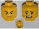 Part No: 3626bpb0654  Name: Minifigure, Head Dual Sided Thin Smirk, Raised Eyebrow / Scared with Teeth Pattern - Blocked Open Stud