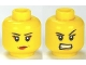 Part No: 3626bpb0681  Name: Minifigure, Head Dual Sided Female Eyelashes and Red Lips, Determined / Angry Pattern - Blocked Open Stud