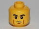Part No: 3626bpb0682  Name: Minifigure, Head Male Black Thick Eyebrows, Brown Cheek Lines, Determined Pattern - Blocked Open Stud