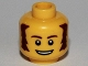 Part No: 3626bpb0683  Name: Minifigure, Head Male Brown Bushy Sideburns, Thin Eyebrows, White Pupils and Open Mouth Smile Pattern - Blocked Open Stud