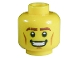 Part No: 3626bpb0696  Name: Minifigure, Head Male Thick Brown Eyebrows, Cheek Lines and Open Mouth Smile Pattern - Blocked Open Stud