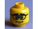 Part No: 3626bpb0712  Name: Minifigure, Head Male Thick Black Eyebrows, Repaired Glasses, Nervous Smile Pattern - Blocked Open Stud