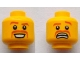 Part No: 3626bpb0715  Name: Minifigure, Head Dual Sided Brown Curved Eyebrows and Moustache, Happy / Scared Pattern - Blocked Open Stud