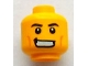 Part No: 3626bpb0741  Name: Minifigure, Head Black Eyebrows, White Pupils, Cheek Lines, Crooked Grin with Teeth Pattern - Blocked Open Stud