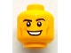 Part No: 3626bpb0743  Name: Minifigure, Head Black Eyebrows, White Pupils, Cheek Lines, Sweat Beads, Open Smile with Teeth Pattern - Blocked Open Stud