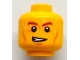 Part No: 3626bpb0744  Name: Minifigure, Head Brown Eyebrows, Cheek Lines, Open Mouth on One Side and Beads of Sweat Pattern - Blocked Open Stud