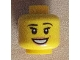 Part No: 3626bpb0746  Name: Minifigure, Head Female with Peach Lips and Dimple, Open Mouth Smile, Black Thin Eyebrows, Eyelashes and White Pupils Pattern - Blocked Open Stud