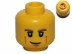 Part No: 3626bpb0810  Name: Minifigure, Head Black and Tan Eyebrows, White Pupils, Cheek Lines, Smirk Pattern - Blocked Open Stud