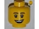 Part No: 3626bpb0833  Name: Minifigure, Head Male Brown Eyebrows, Eyelashes, Open Lopsided Smile and Teeth Pattern - Blocked Open Stud