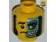 Part No: 3626bpb0853  Name: Minifigure, Head Male Mask Half Sand Green with Green Eye Open Grin Pattern - Blocked Open Stud