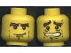 Part No: 3626bpx117  Name: Minifigure, Head Dual Sided Male with Thick Brown Eyebrows Determined / Scared Open Mouth Pattern - Blocked Open Stud