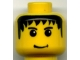 Part No: 3626bpx126  Name: Minifigure, Head Male Messy Black Hair, Slight Smile, Eyebrows Pattern - Blocked Open Stud