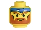 Part No: 3626bpx15  Name: Minifigure, Head Beard with Angry Brown Eyebrows, Moustache and Blue Bandana Pattern - Blocked Open Stud
