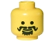 Part No: 3626bpx23  Name: Minifigure, Head Moustache Curly, Spiky Beard under Mouth Pattern - Blocked Open Stud