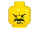 Part No: 3626bpx29  Name: Minifigure, Head Moustache Angry, White Teeth and Gold Tooth Pattern - Blocked Open Stud