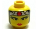 Part No: 3626bpx3  Name: Minifigure, Head Female with Red Lips, Eyelashes, Gray Headband with Red Circle Pattern - Blocked Open Stud