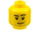 Part No: 3626bpx301  Name: Minifigure, Head Male Smirk, Pupils, Stubble Beard and Moustache and Sideburns Pattern - Blocked Open Stud
