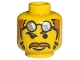 Part No: 3626bpx32  Name: Minifigure, Head Moustache Brown Hair, Glasses on Forehead, Raised Eyebrow Pattern - Blocked Open Stud
