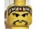 Part No: 3626bpx39  Name: Minifigure, Head Moustache Long, Gray Headband with Red Dot Pattern - Blocked Open Stud