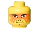 Part No: 3626bpx57  Name: Minifigure, Head Face Paint with Orange Painted Face Pattern - Blocked Open Stud