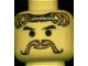 Part No: 3626bpx70  Name: Minifigure, Head Moustache and Curly Brown Hair Pattern - Blocked Open Stud