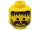 Part No: 3626bpx75  Name: Minifigure, Head Beard Vertical Lines with Messy Hair, Moustache Black Pattern - Blocked Open Stud