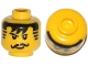 Part No: 3626cpa3  Name: Minifigure, Head Moustache Black Bangs, Striped Sideburns Pattern - Hollow Stud