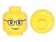 Part No: 3626cpb0122b  Name: Minifigure, Head Glasses Rectangular, Red Thin Eyebrows, Smile Pattern - Hollow Stud