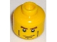 Part No: 3626cpb0204  Name: Minifigure, Head Male Brown Eyebrows, White Pupils, Vertical Cheek Lines, Chin Dimple Pattern - Hollow Stud