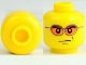 Part No: 3626cpb0212  Name: Minifigure, Head Glasses with Orange Sunglasses and Smirk Pattern - Hollow Stud