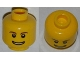 Part No: 3626cpb0273  Name: Minifigure, Head Brown Eyebrows, Thin Grin with Teeth, Black Eyes with White Pupils Pattern - Hollow Stud