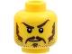 Part No: 3626cpb0319  Name: Minifigure, Head Moustache Brown Long, Sideburns, Stubble, Thick Eyebrows, White Pupils Pattern - Hollow Stud