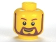 Part No: 3626cpb0332  Name: Minifigure, Head Beard Brown Rounded with White Pupils and Grin Pattern - Hollow Stud