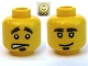 Part No: 3626cpb0363  Name: Minifigure, Head Dual Sided Bushy Eyebrows and Goatee / Worried Pattern - Hollow Stud