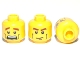 Part No: 3626cpb0396  Name: Minifigure, Head Dual Sided Brown Eyebrows, Cheek Lines, Mouth Closed / Mouth Open Scared Pattern - Hollow Stud