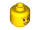 Part No: 3626cpb0411  Name: Minifigure, Head Female with Peach Lips, Open Mouth Smile, Brown Eyebrows Pattern - Hollow Stud