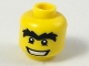 Part No: 3626cpb0438  Name: Minifigure, Head Male Black Eyes with White Pupils, Unibrow and Wide Mouth Pattern - Hollow Stud